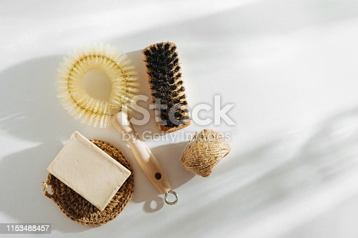 istock Natural dish brush and cleaning tools with Soap. Zero waste concept. Plastic free. Flat lay, top view 1153488457