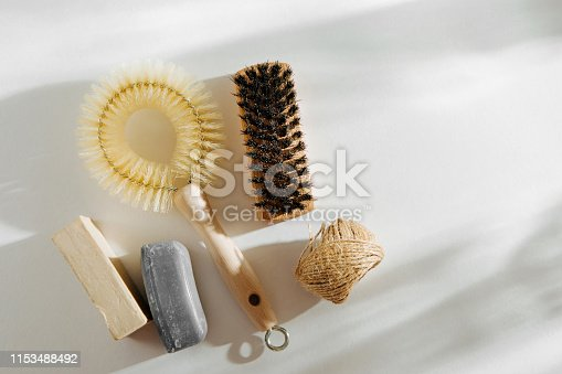 istock Natural dish brush and cleaning tools with Soap. Zero waste concept. Plastic free. Flat lay, top view 1153488492