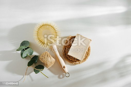 istock Natural dish brush and cleaning tools with Soap. Zero waste concept. Plastic free. Flat lay, top view 1153489445