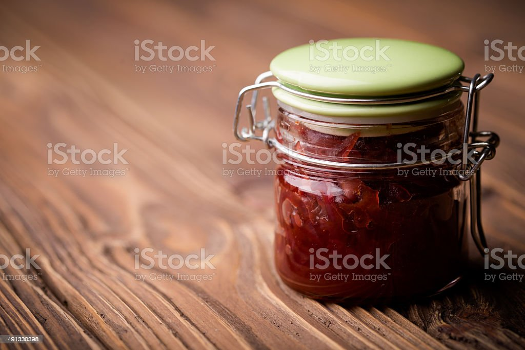 Natural diy red onion marmalade stock photo