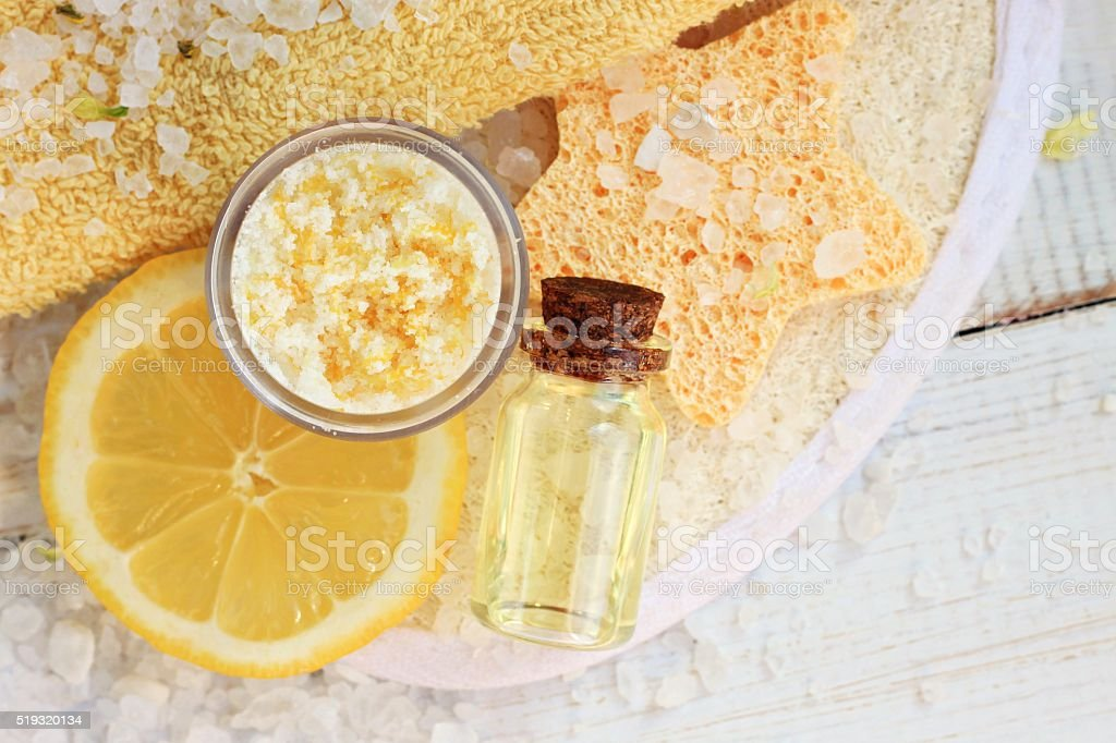 Natural domestic lemon skincare stock photo
