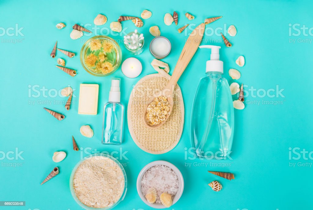 Natural domestic products for skincare. Oat, oil, soap, facial cleanser stock photo