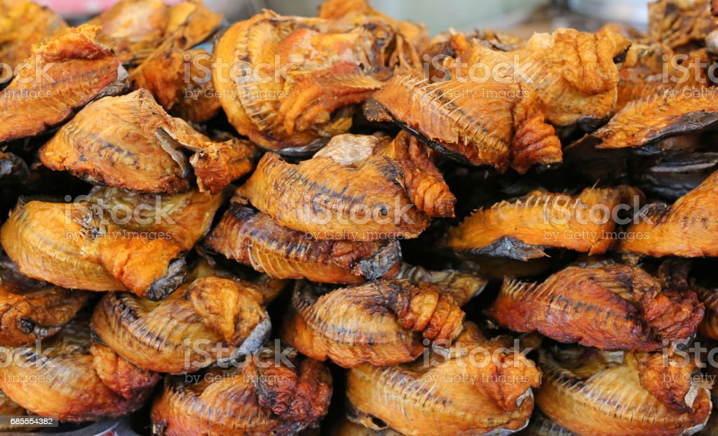 Natural Drying of salted fish, Preserve dry fish, Brown Grilled fish. stock photo