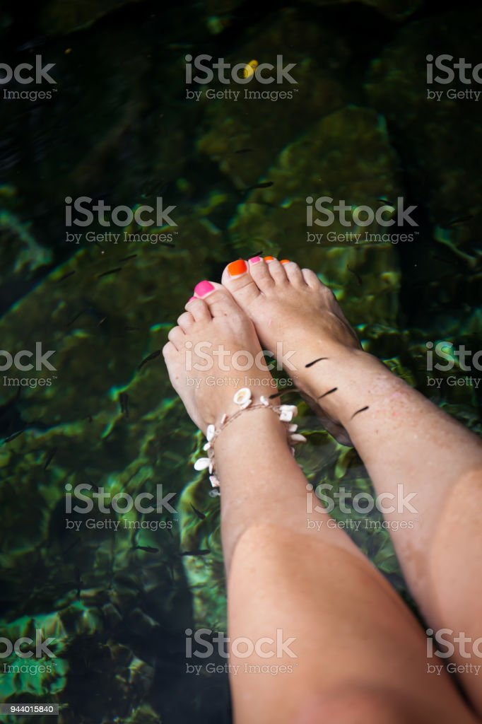 Natural fish spa therapy stock photo