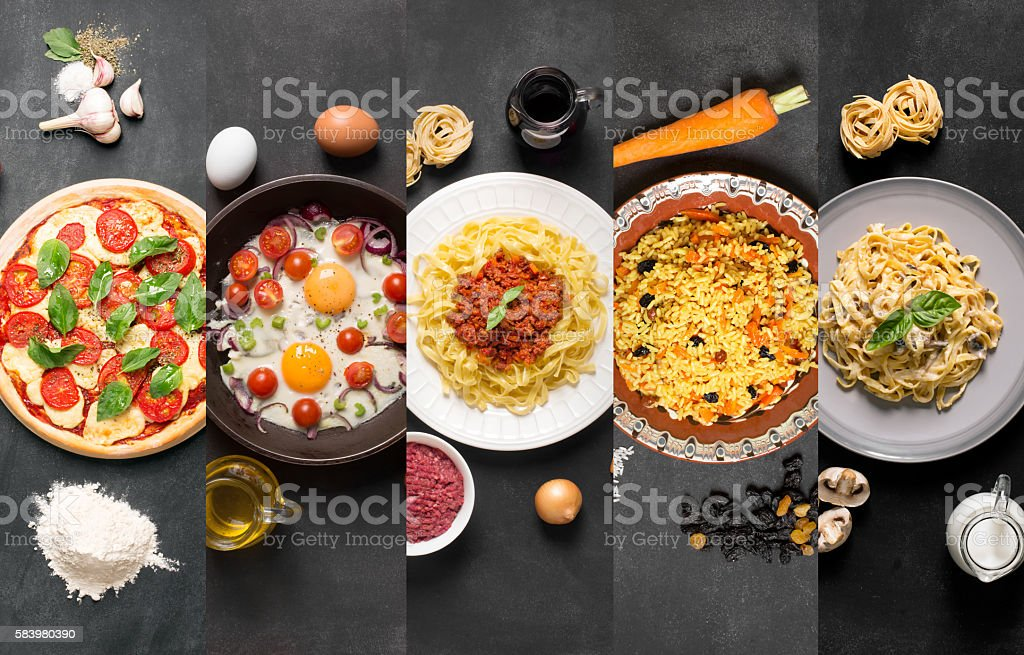 Natural food collage (plates on the black chalkboard) stock photo