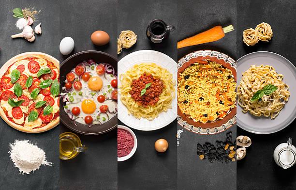 natural food collage (plates on the black chalkboard) - italienische speisekarte stock-fotos und bilder