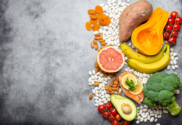 natural food sources of potassium - deficient stock pictures, royalty-free photos & images