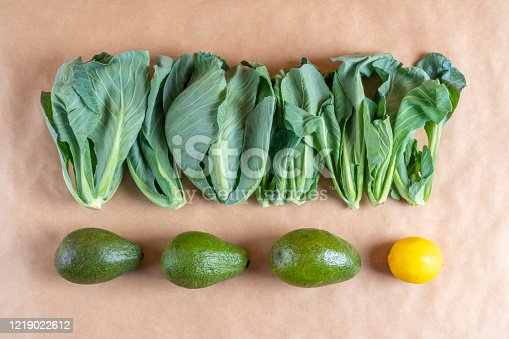 Natural and fresh cibes (special and rare aegean grass, a kind of cabbage) vegetable on brown paper surface with copy space. Natural green foods are good for strong immune system and strong immune system best protection for Corona virus and other most of the diseases.