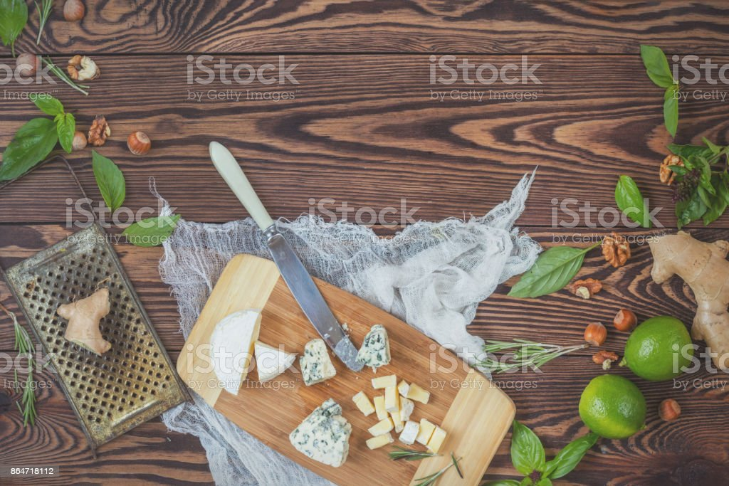 Natural fresh food on wooden background stock photo