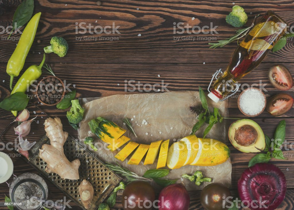 Natural fresh vegetables on wooden background stock photo