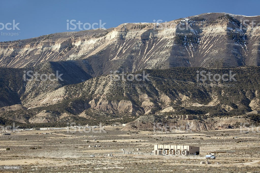 Natural Gas and oil fields off Interstate 70 Rifle Colorado stock photo