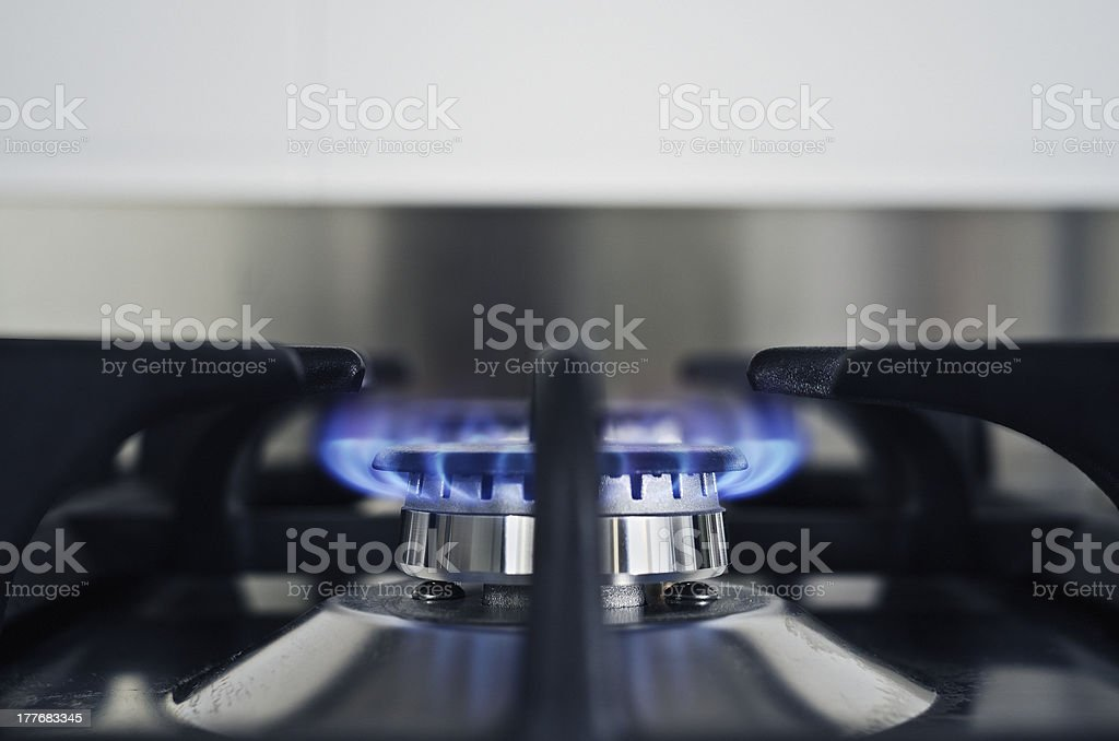 Natural Gas Blue Flame on Kitchen royalty-free stock photo