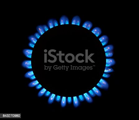 istock Natural gas blue flames 843270980