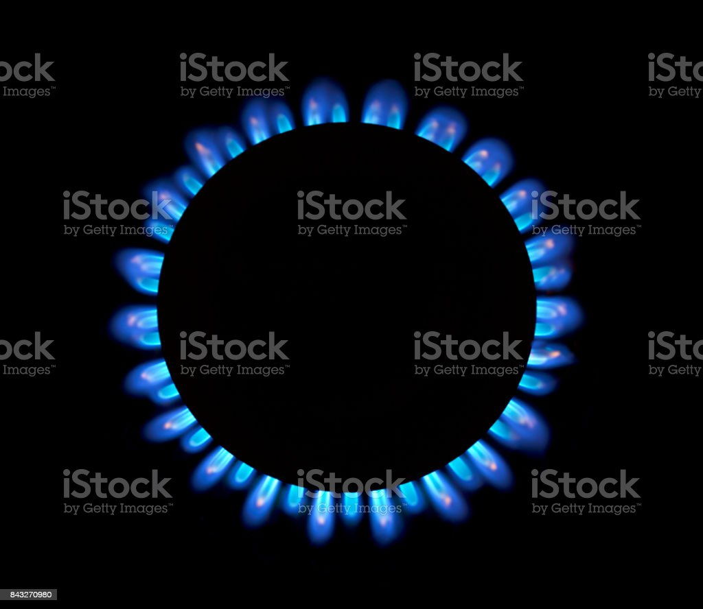 Gas natural azul llamas - foto de stock