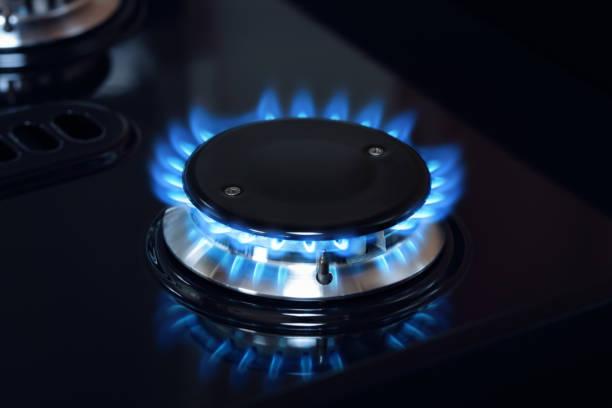 Natürliches Gas-Brenner-Flamme am Herd – Foto