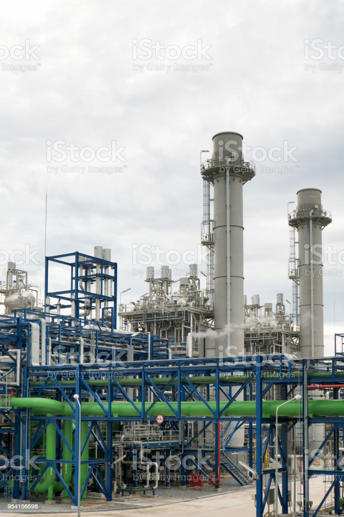 Natural Gas Combined Cycle Power plant electricity generating station industry. stock photo