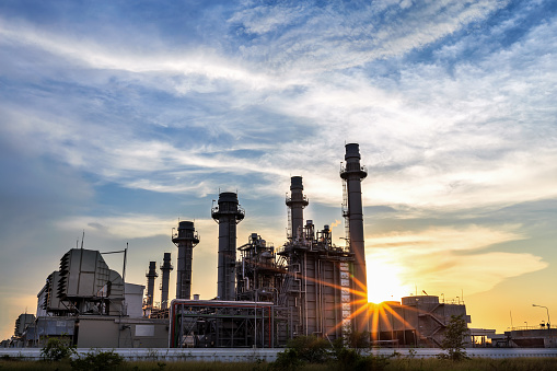 Natural Gas Combined Cycle Power Plant with sunset
