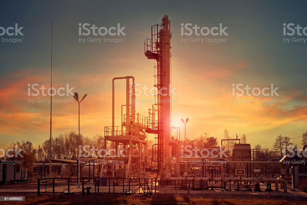 Natural gas compression for dehydration stock photo