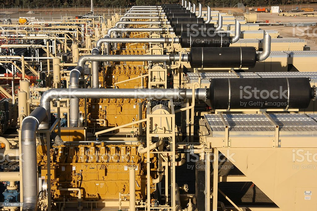 Natural gas compressor worksite stock photo