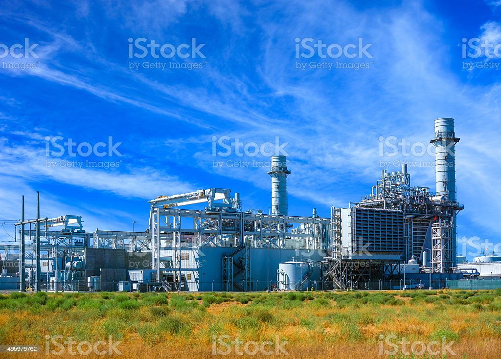 Natural Gas Fired Electrical Power Plant stock photo