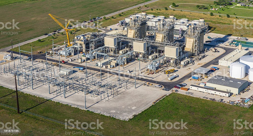Natural Gas Fired Turbine Electrical Power Plant stock photo