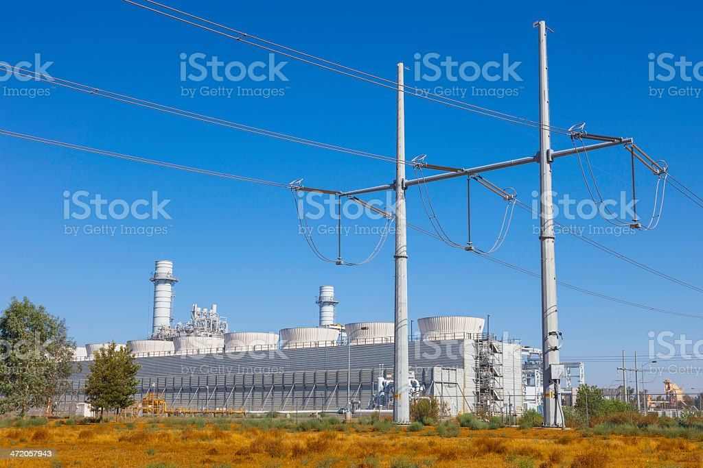 Natural gas fired turbine power plant stock photo