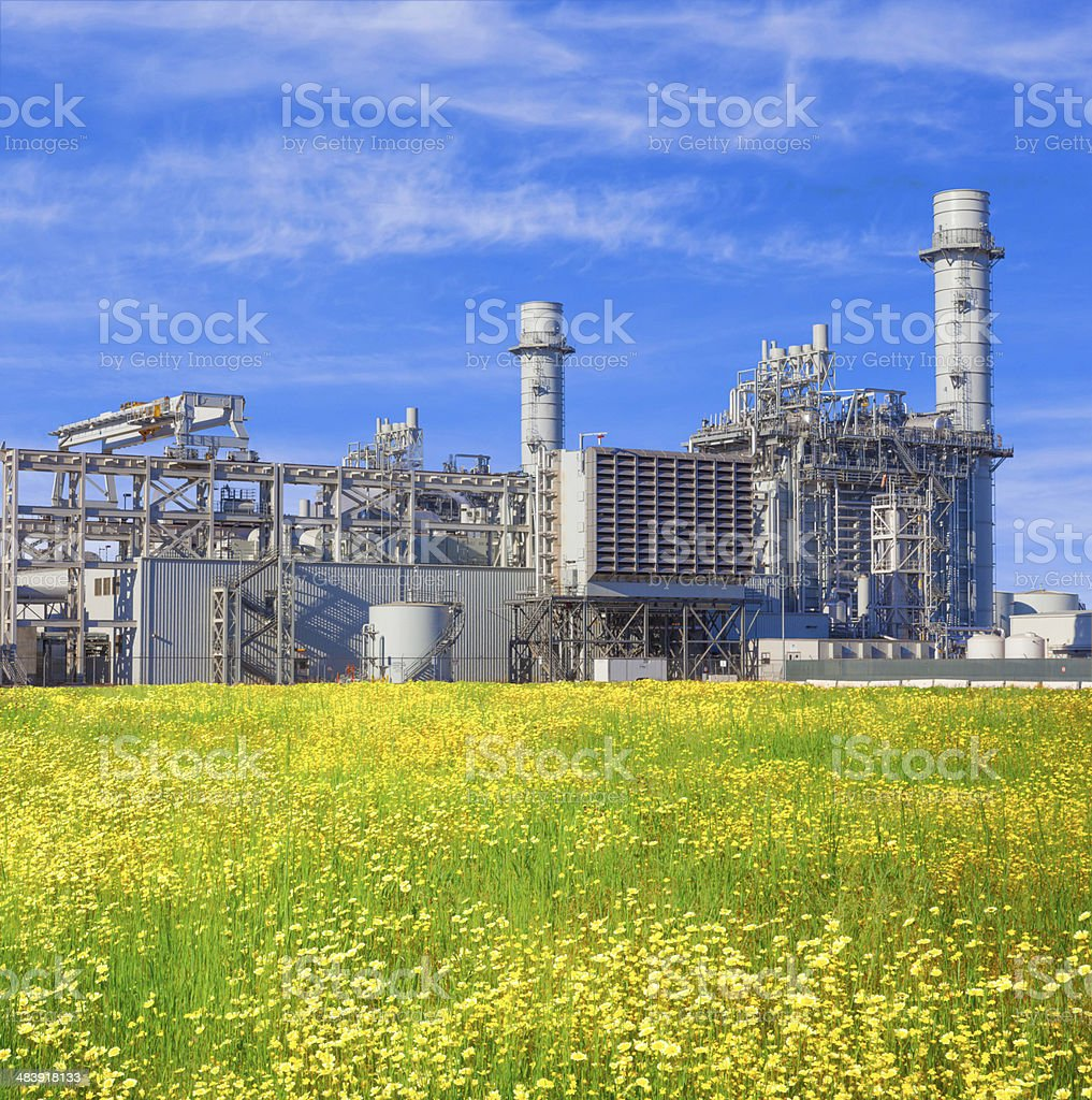 Natural gas fired turbine power plant royalty-free stock photo