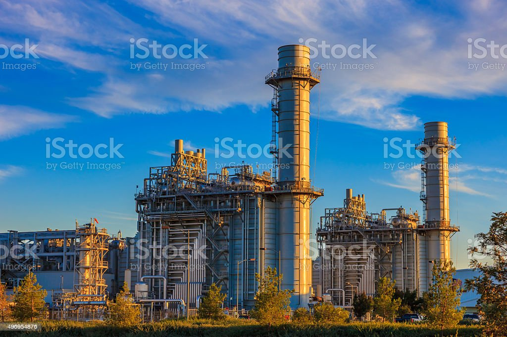Natural gas fired turbine power plant,fall,field,CA stock photo