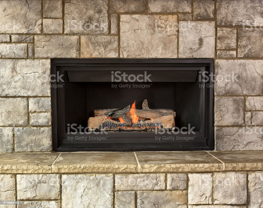 Natural gas fireplace for home stock photo