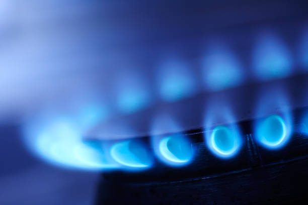 natural gas flame - gas stockfoto's en -beelden