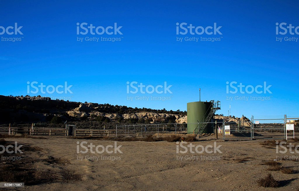 Natural gas fracking site fenced off stock photo