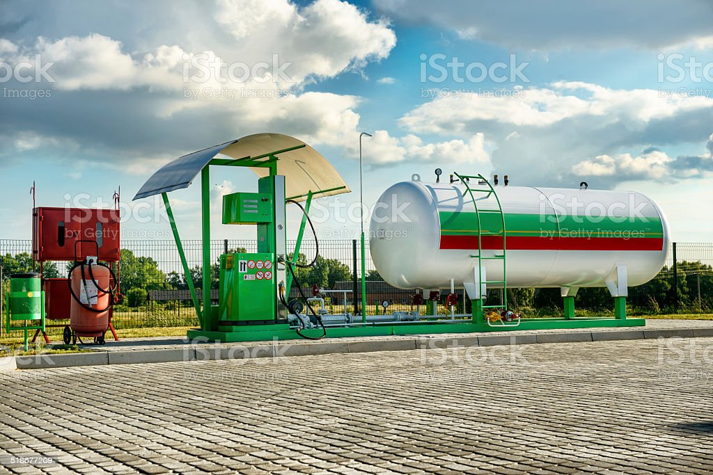 Natural gas fuel tank at car filling station stock photo