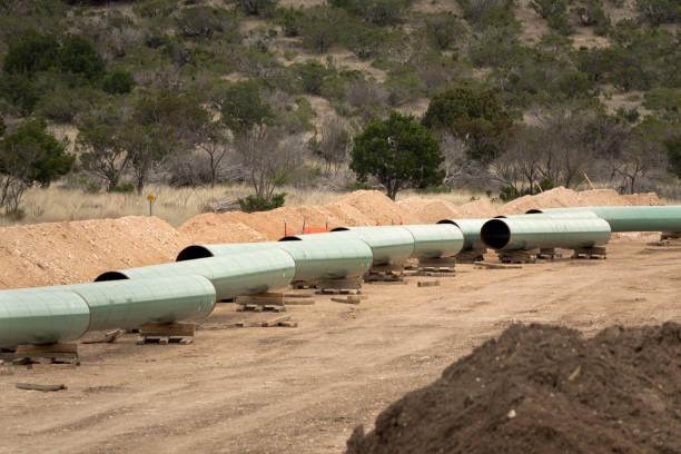 Natural gas pipeline construction Crockett County Ozona Texas Gulf Coast Express stock photo