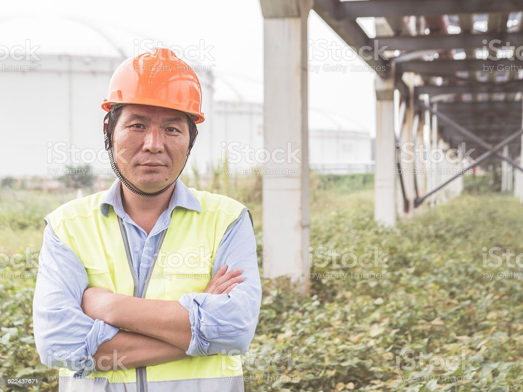 Natural gas plant engineers stock photo