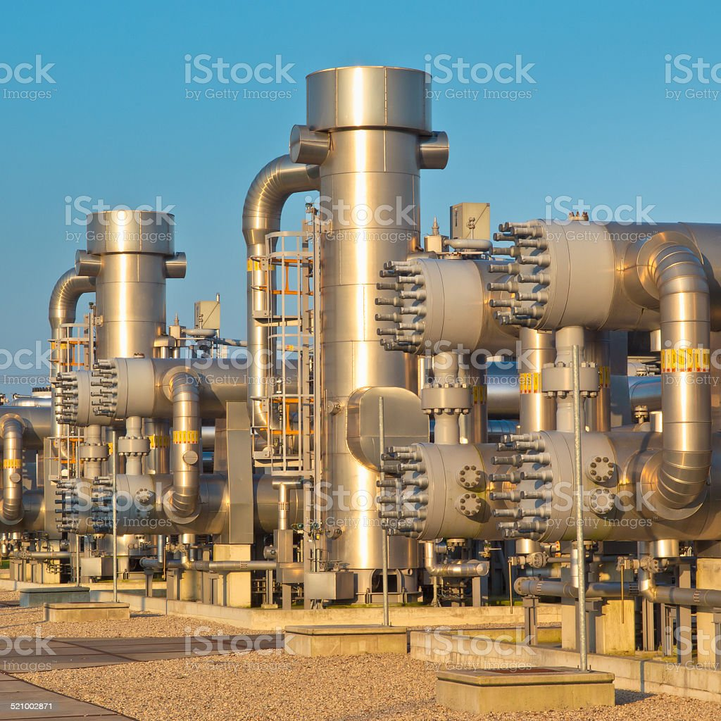 natural gas processing site stock photo