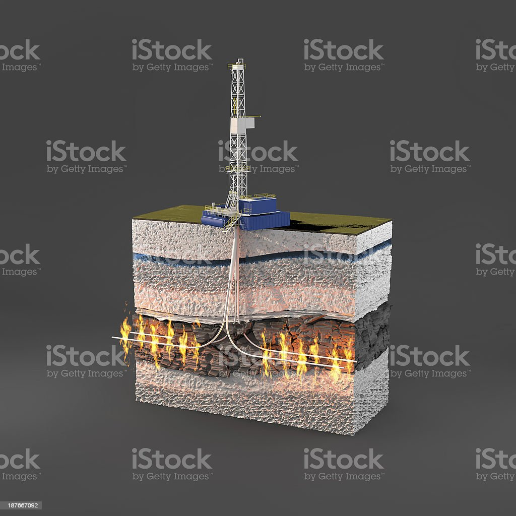 Natural Gas Rig and Fracking stock photo