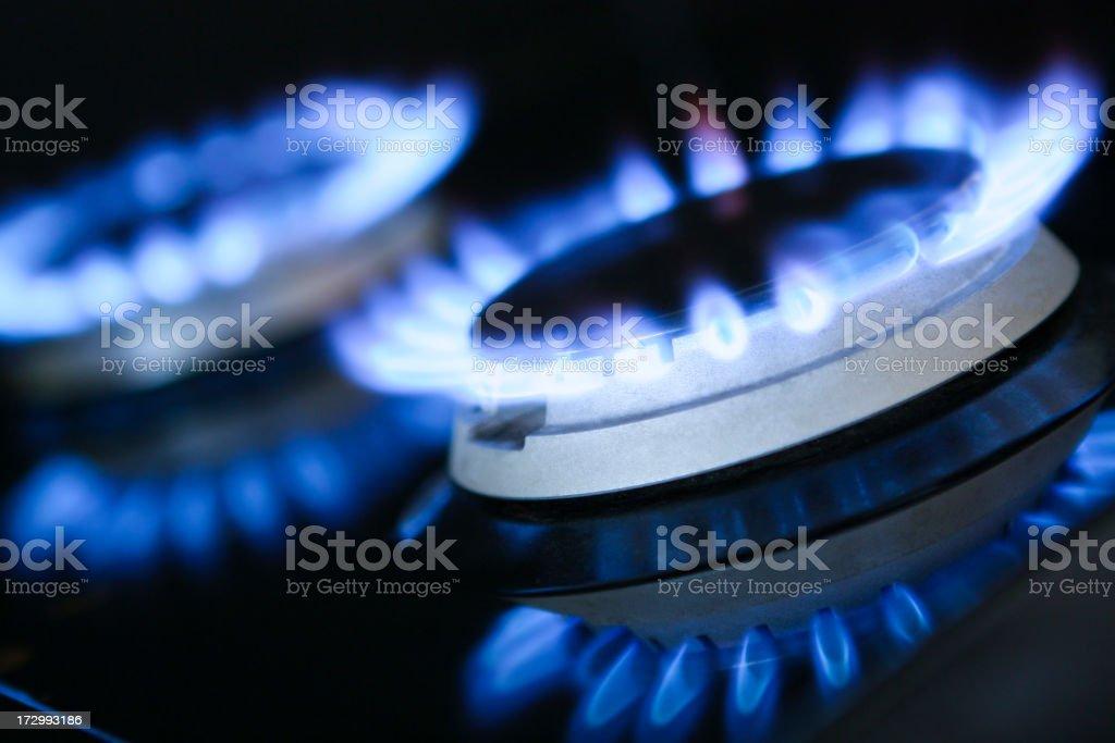 Natural Gas Rings Burning stock photo