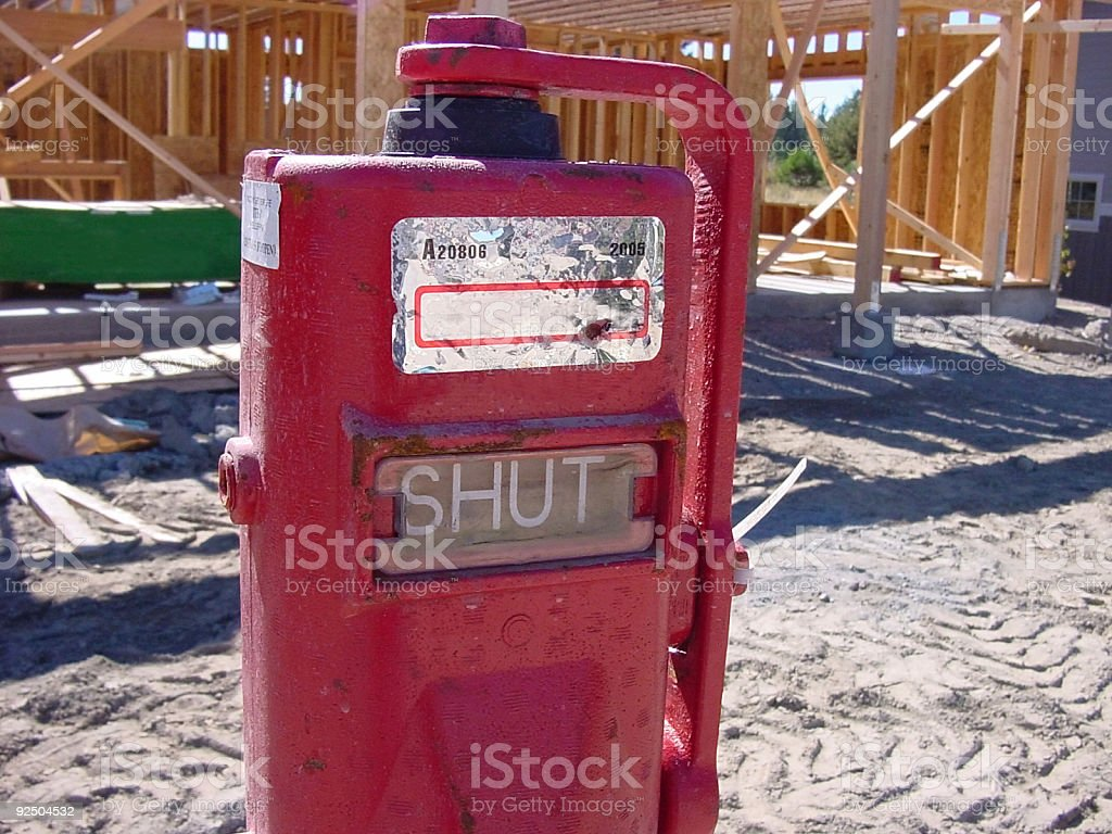 Natural gas shut off valve royalty-free stock photo