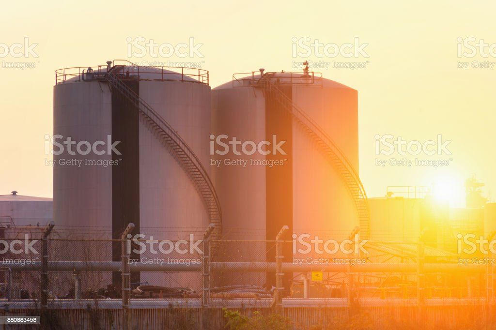 Natural gas storage tanks and oil tank stock photo