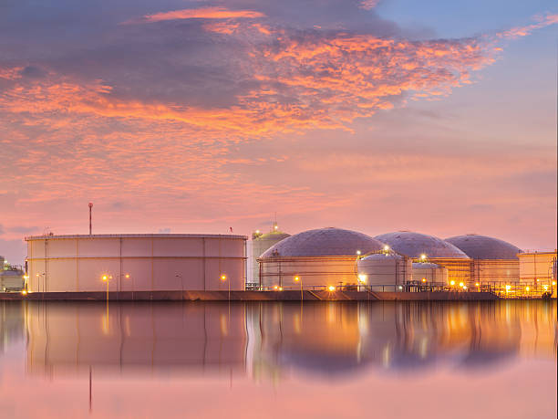 Natural Gas storage tanks , Oil tank , LPG , Petrochemical plant , Petroleum stock photo