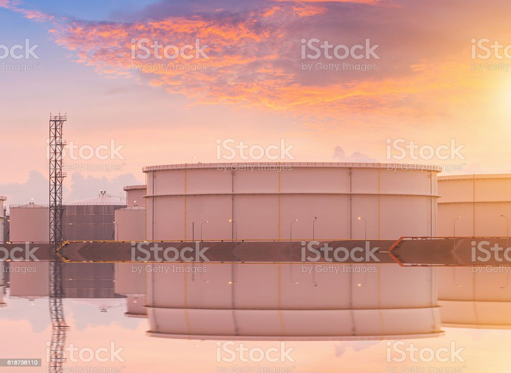Natural Gas storage tanks , Oil tank , LPG , Petrochemical plant , Petroleum stock photo