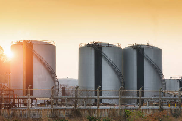 Natural Gas storage tanks stock photo