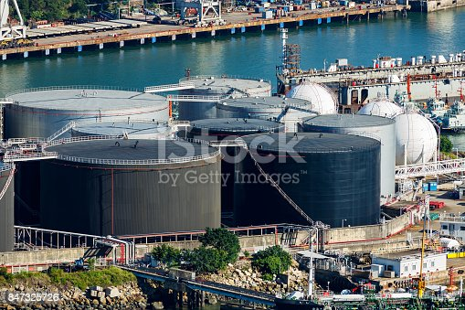 Natural gas tank and oil tank on oil refinery