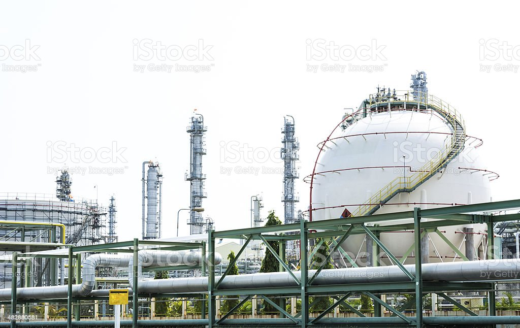 Natural Gas Tank on white background(sphere tank) stock photo