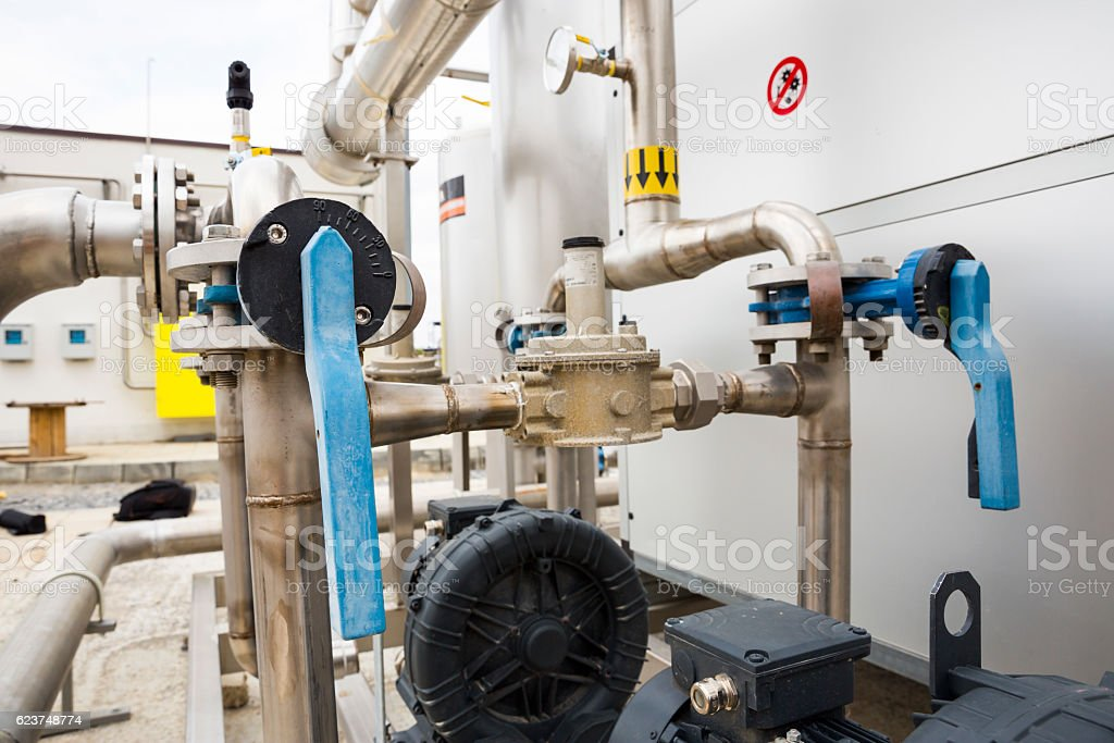 Natural gas tank pipelines stock photo
