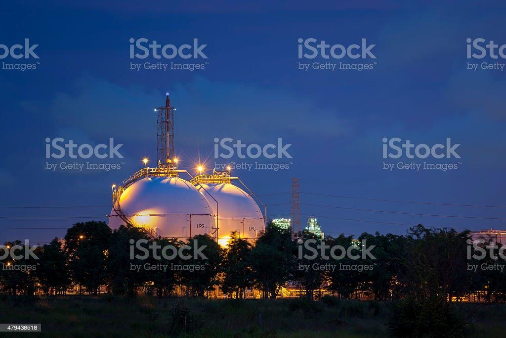 Natural Gas Tanks at twilight stock photo