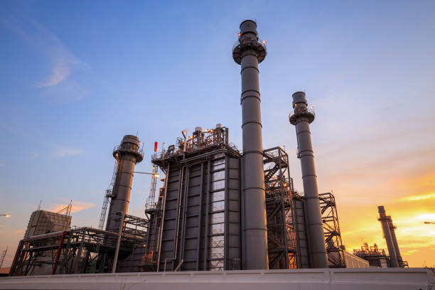 Natural gas turbine electric power plant support factory Natural gas turbine electric power plant support factory power station stock pictures, royalty-free photos & images