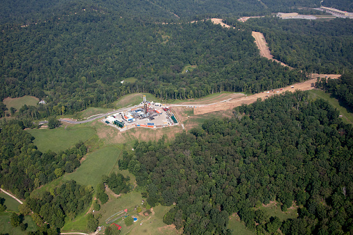 Aerial view of Natural Gas Well beining drilled in northwestern West Virginia in the Marcellus Shale  Formation photograph taken August 2020