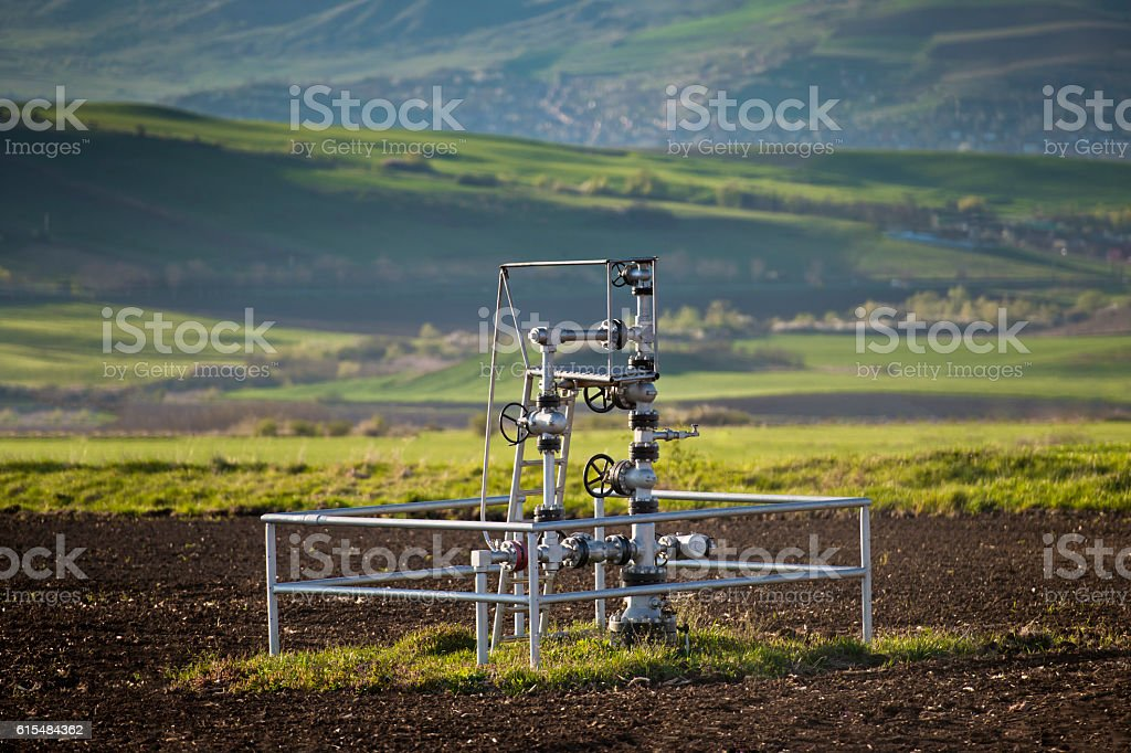 Natural gas wellhead stock photo