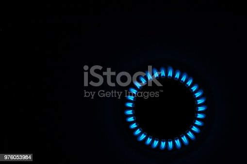 Natural gas with blue flames